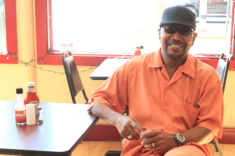 Customer Mike Smith extols the virtues of Addie Lee's Soul Food.