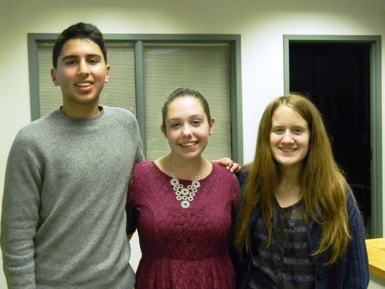 Rayaan Yunus, left, Laura Giordano, and Lillian Cain are among the young leaders comprising the 18-member Youth for Community Improvement council.