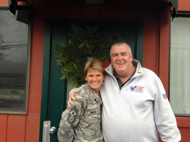 Bill Moore with Chief Master Sgt. Maryanne Walts of Massachusetts Air National Guard 104th Fighter Wing -