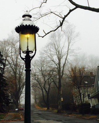 Gas lamps along Farnum Street.