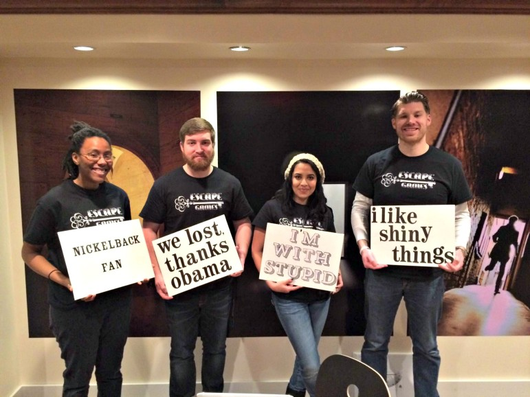 From left, Kiara Vincent, Kyle Kirouac, Jenny Albores and owner Jason Eastty at Escape Games.
