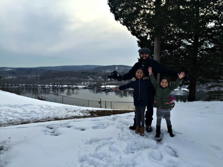 Making time for family is an important part of Giselle's business plan. Here, Jaime, Brooklyn and Evian pause from exploring Gillette Castle State Park in Connecticut.