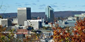 Worcester's downtown skyline, slightly askew