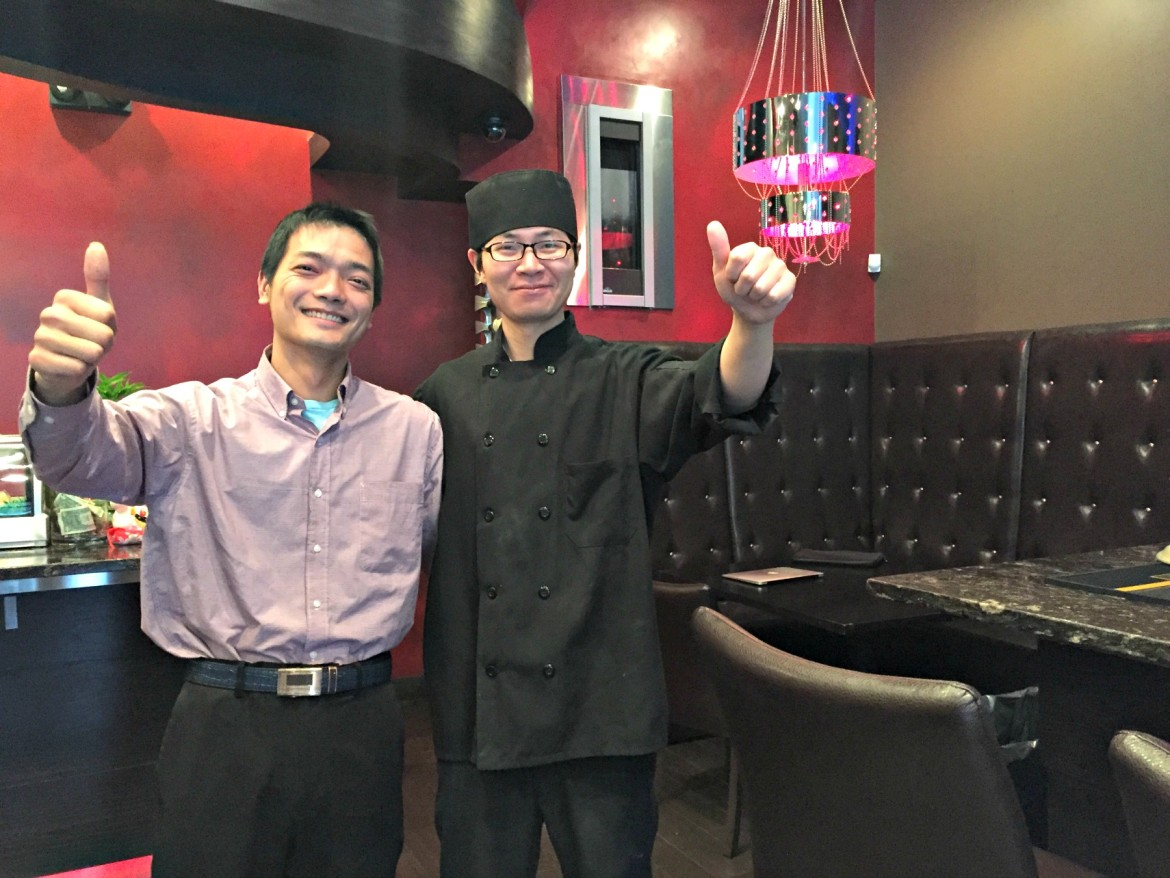Yummy Steak House co-owners Jacky Chen, left, and Ken Zhang.