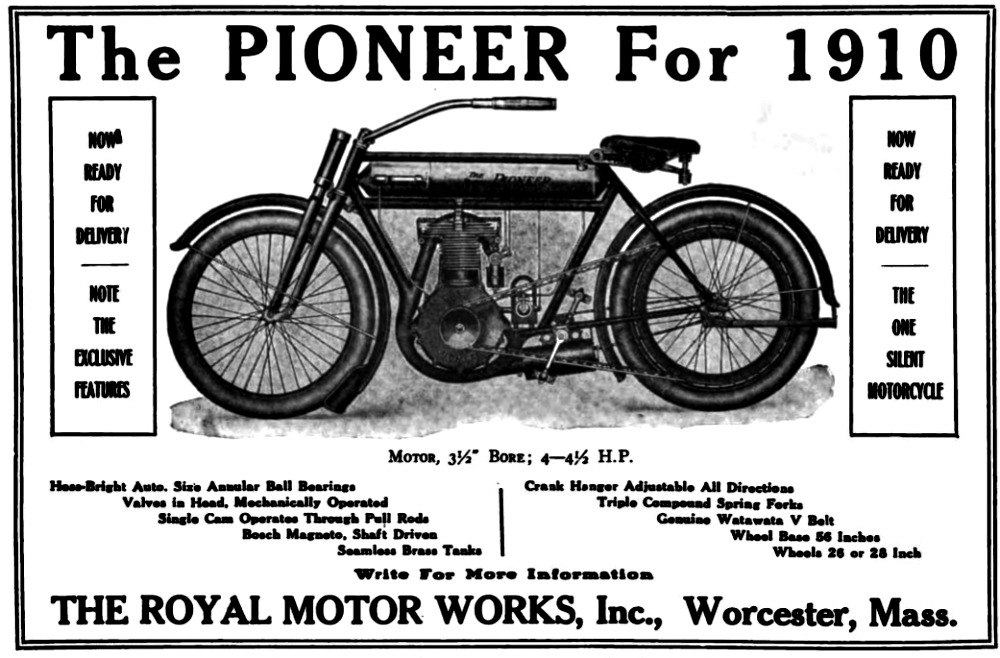 "Advertisements heralded the Pioneer as ""The One Silent Motorcycle."" They utilized a hollow frame to bring exhaust from the motor to a muffler mounted in front of the rear wheel. The design included an expansion chamber to reduce back pressure and enhance engine performance."