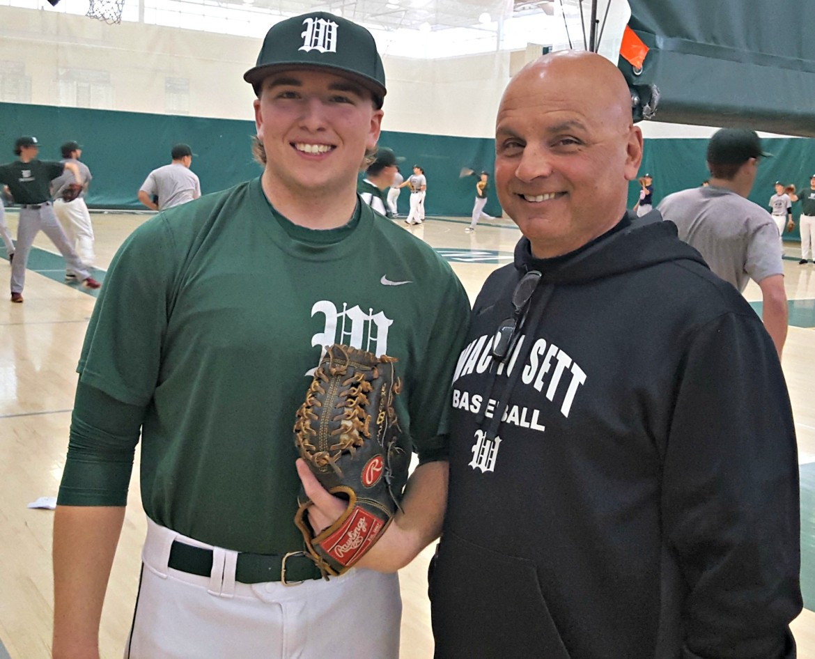 Wachusett baseball coach Mark Peters, right, stands alongside Mountaineers' senior pitcher Brendan Case. Case's father, Bob Case, pitched for South High when Peters coached at Burncoat High from 1994-97.