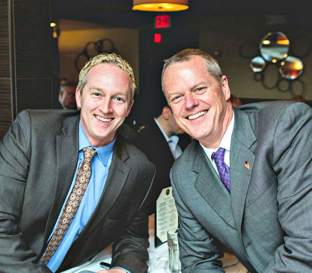 Gaffney poses with Gov. Charlie Baker during a recent luncheon, where he also met with Mass Fiscal Alliance head Paul Craney.
