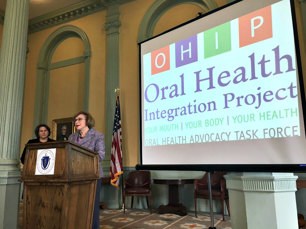 Sen. Harriette L. Chandler, D-Worcester, speaks on behalf of a new dental care/access initiative.