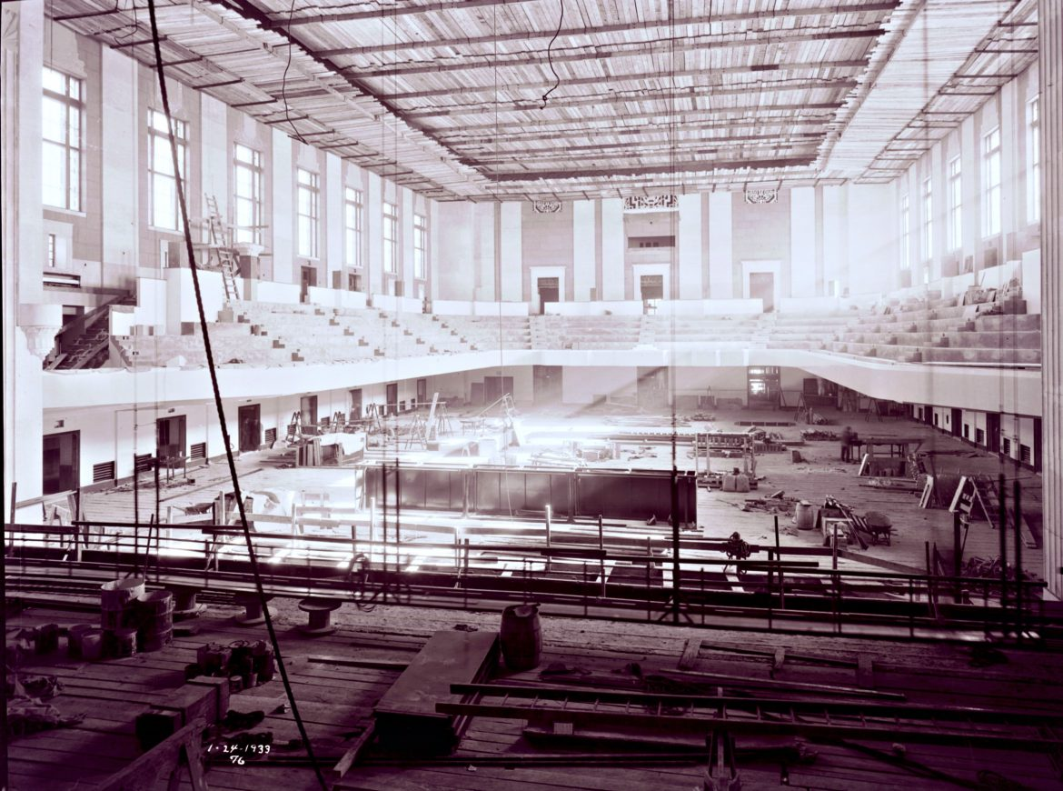 Construction inside Worcester Memorial Auditorium, Jan. 24, 1933 (E.B. Luce Collection, Worcester Historical Museum)
