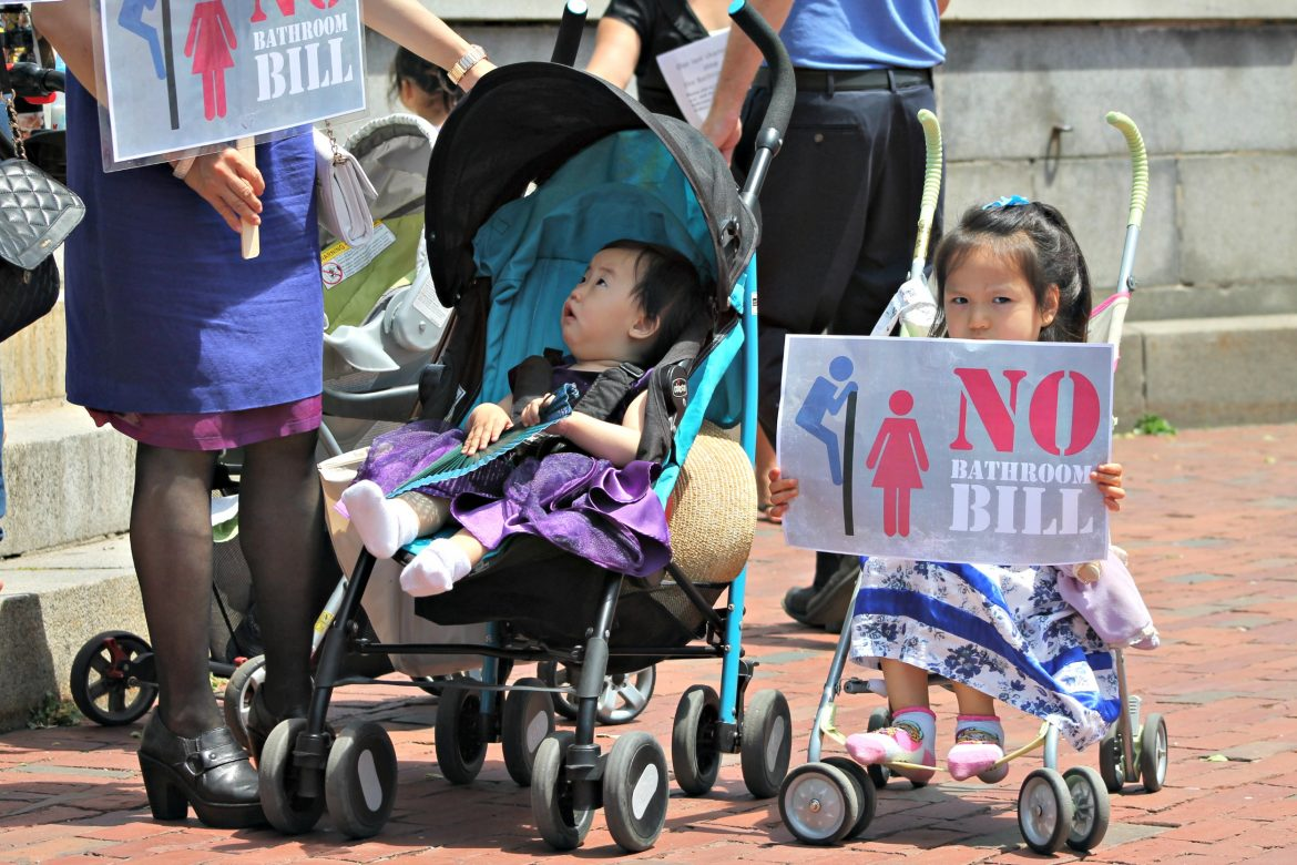Massachusetts Family Institute members outside the State House June 1.