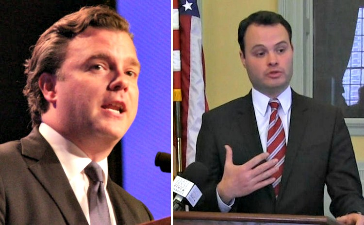 Stephen Kerrigan, left, and state Sen. Eric Lesser are chief among the Massachusetts contingent at the DNC this week.