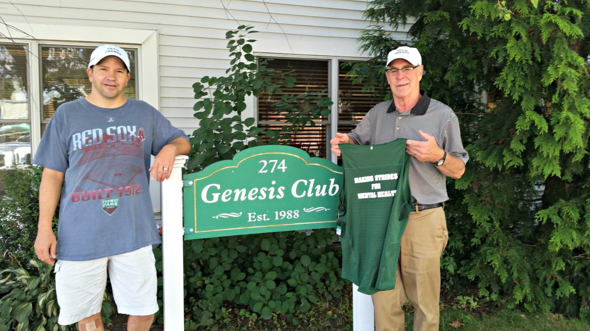 Peter Dixon, a longtime volunteer, left, and director Kevin Bradley stand outside Genesis Club on Lincoln Street.