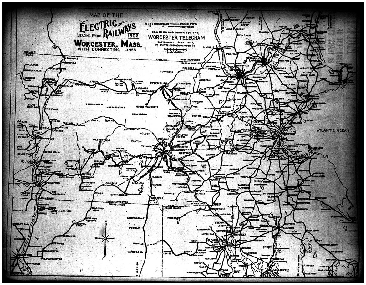 A 1902 map published in the Sunday Telegram of the electric rail network.