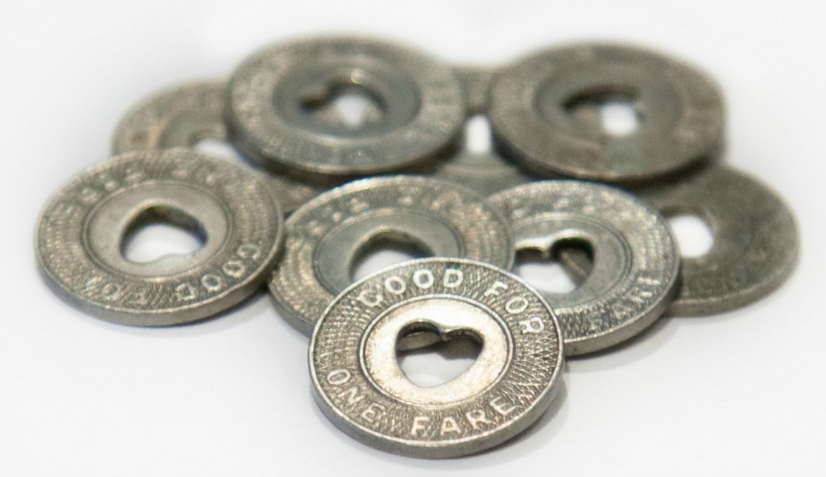 Trolley tokens from the collection of the Worcester Historical Museum.