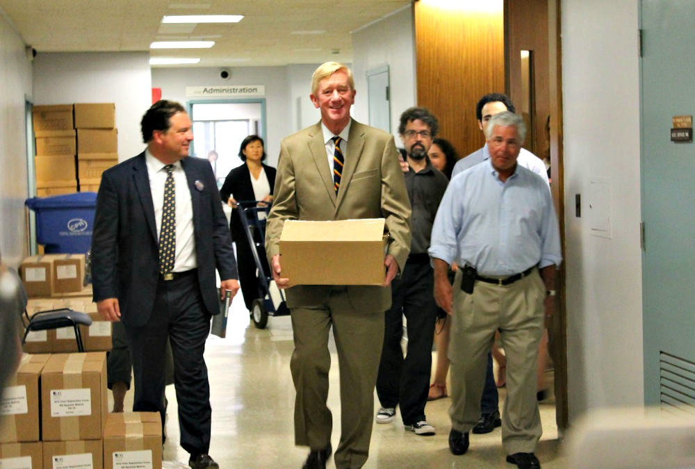 William F. Weld is on the trail, working to get his Libertarian ticket on the ballot and voters at his back.