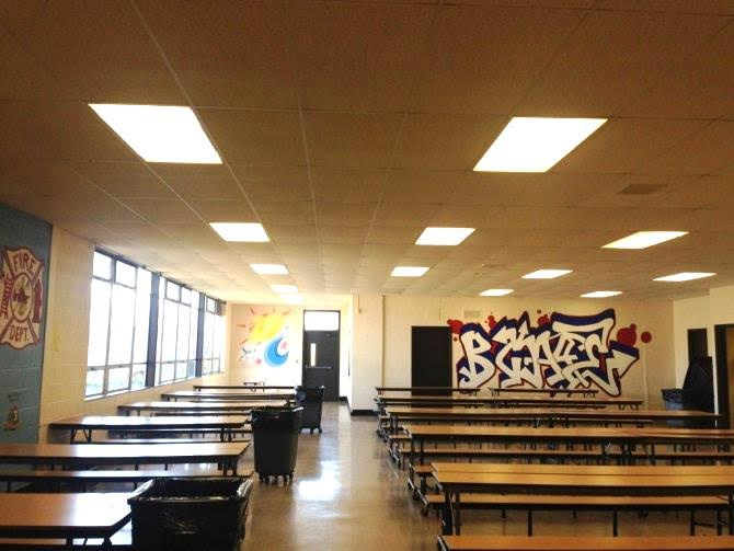 Lights were recently replaced at Burncoat High School.