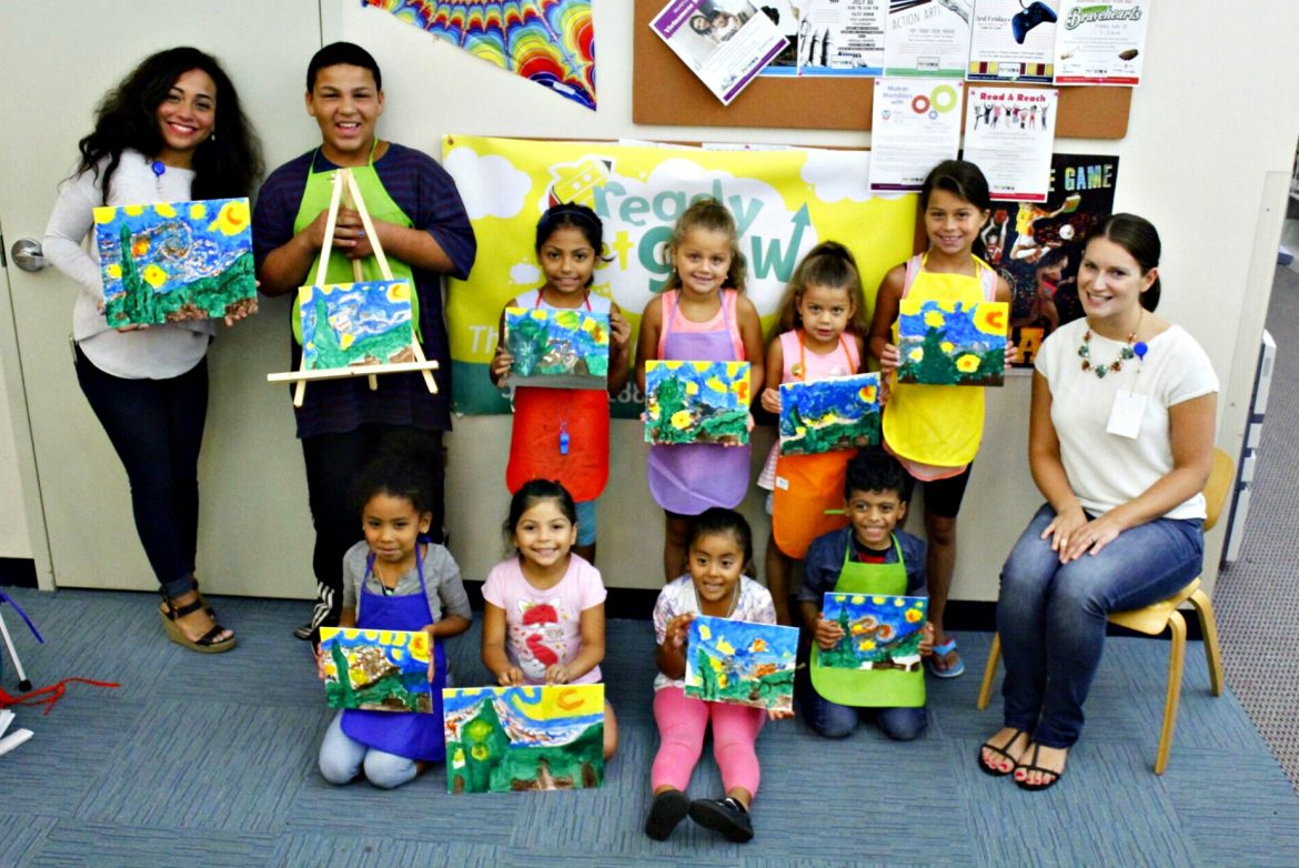 Maker Mondays featuring van Gogh, with Giselle, left, Samantha Butera, right, and the gang at Worcester Public Library.