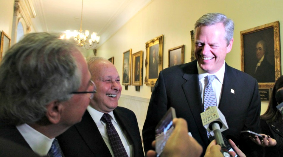"""Gov. Baker told reporters on Monday he would be attending multiple campaign events for state lawmakers Monday night and would watch the presidential debate at a later time. Senate President Rosenberg suggested he drop some of the campaign events, to which Speaker DeLeo added, """"Unless you're going out for some Democrats."""""""