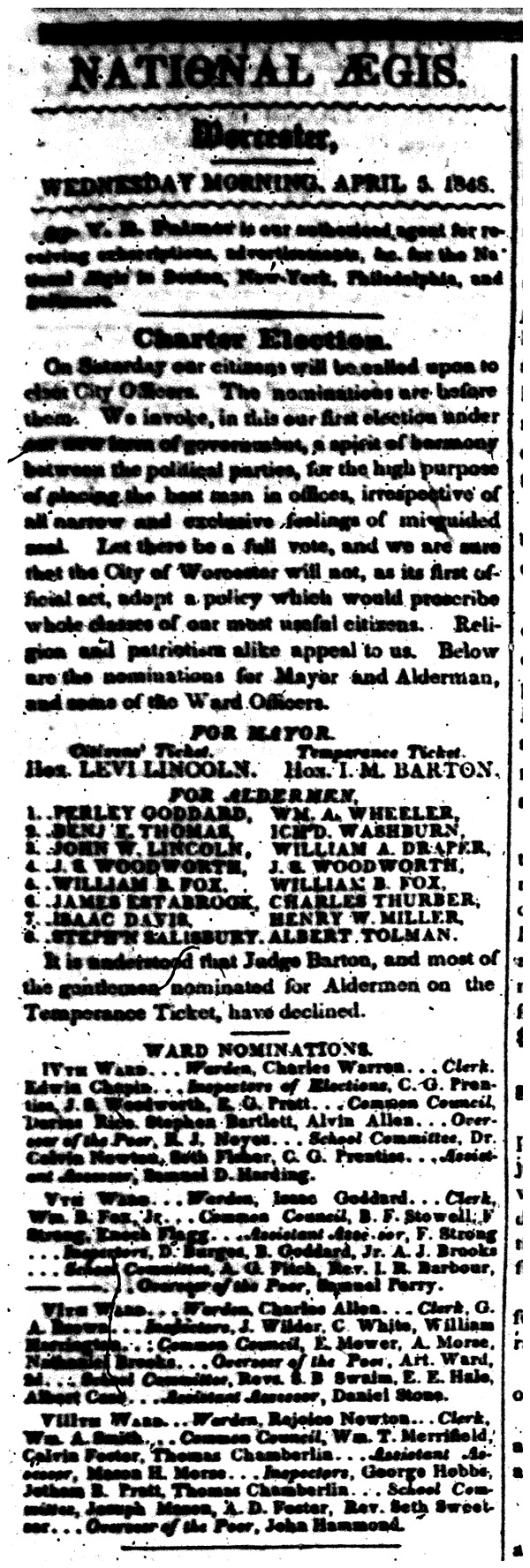 List of candidates in the city's first election published April 5, 1848 in the National Aegis.