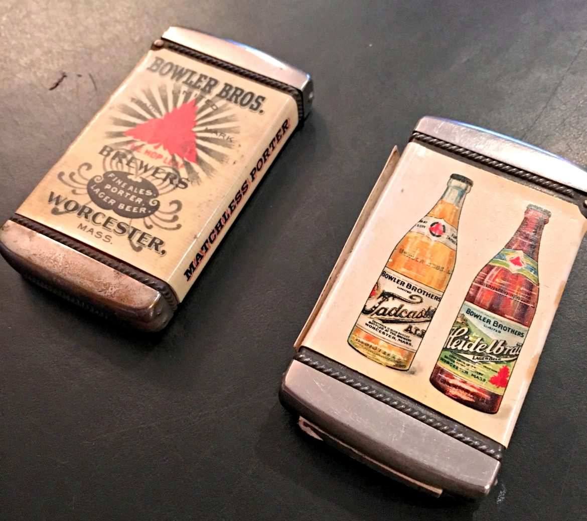 Bowler Brothers promotional lighters (from the collection at Worcester Historical Museum).