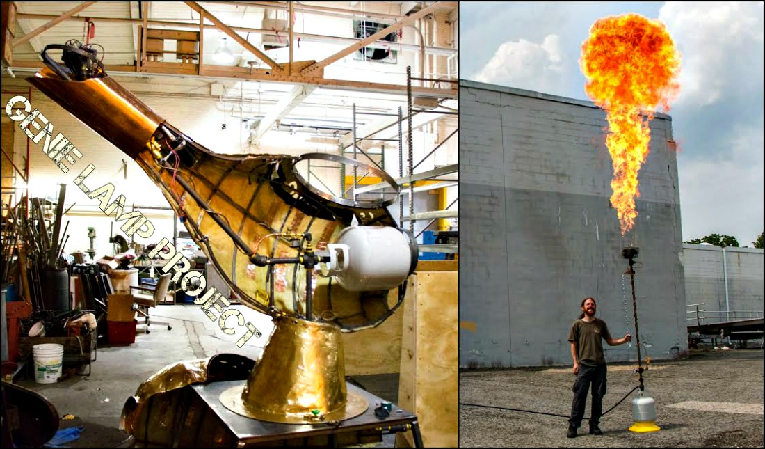A giant genie lamp needs a giant flame ... of course.