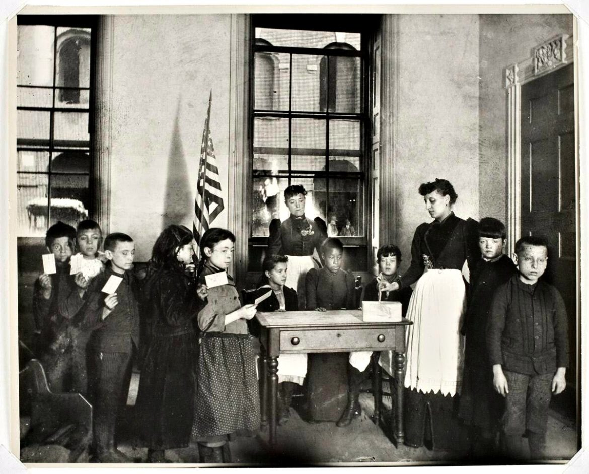 "(""First Patriotic Election in the Beach Street Industrial School,"" about 1888, gelatin silver print, Stoddard Acquisition Fund, 2003)"