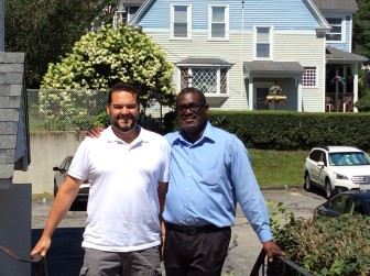 Dr. Richard Howarth, left, on the board of directors for the LGBT Asylum Task Force and a member of Hadwen Park Church, stands with Mr. Martin, who has also joined Hadwen Park Church since his arrival.