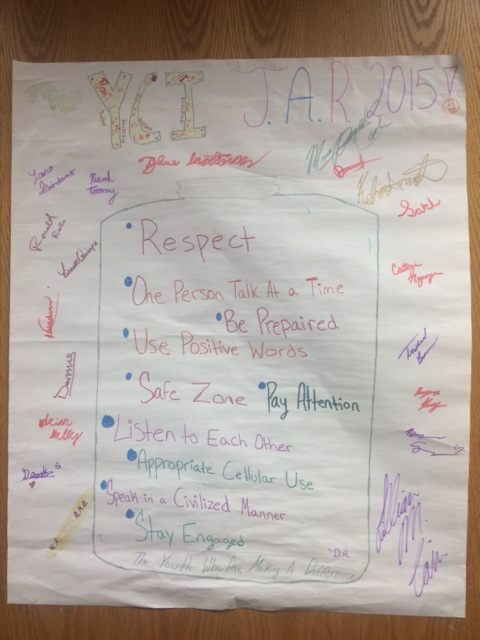 "YCI's ""JAR"" helps set the tone for how the group of teens interact. Each of the 18 members of the council, and advisors, signed it."