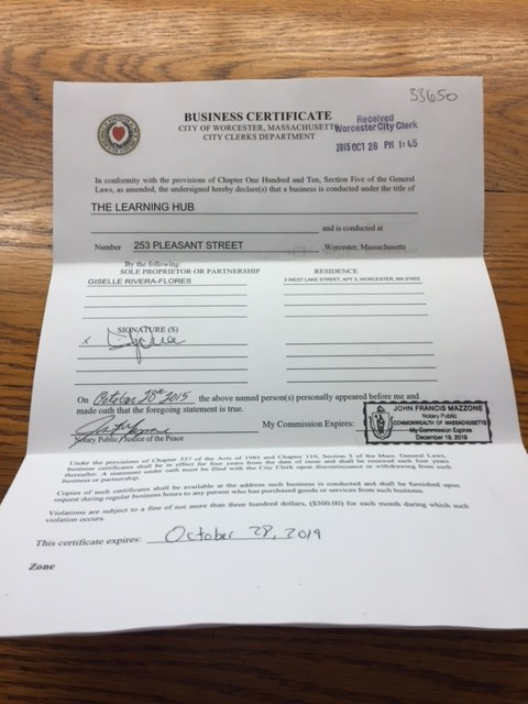 Giselle's official: She filed for a business certificate with the city. The Learning Hub is on the books.