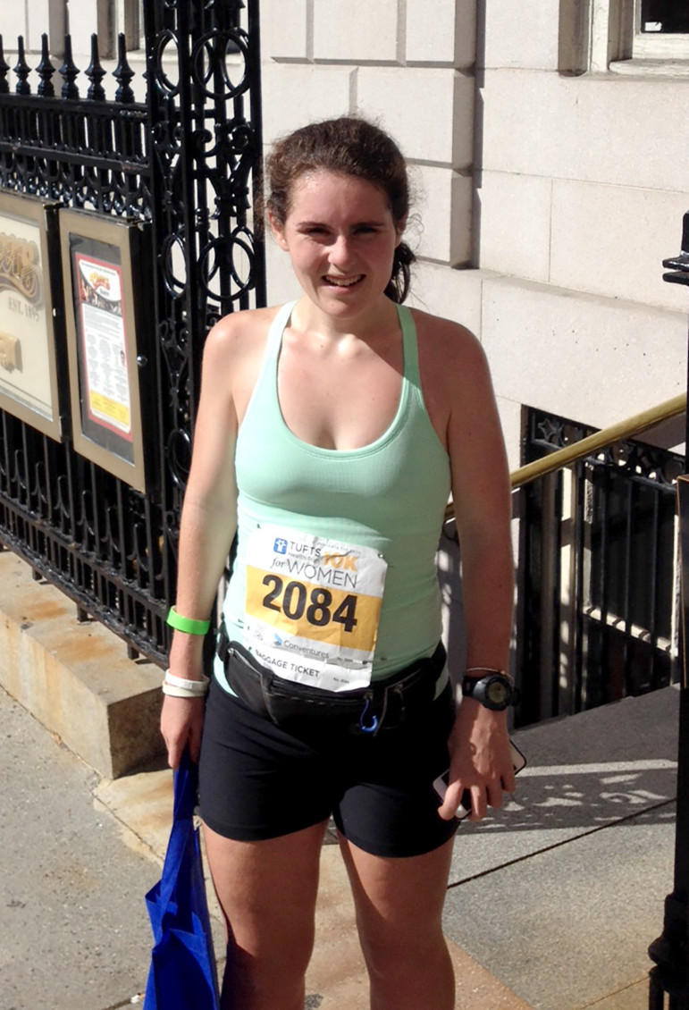 Assumption College sophomore Michaela Flaherty won the inaugural Blind and Visually Impaired division at the 39th Tufts Health Plan 10K for Women in October.