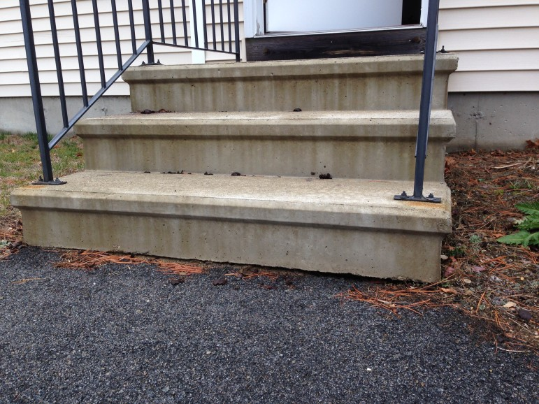 Not bad digs for a skunk, but these stairs leave a lot to be desired, four years later, for another jilted customer of Jay Pelletz.