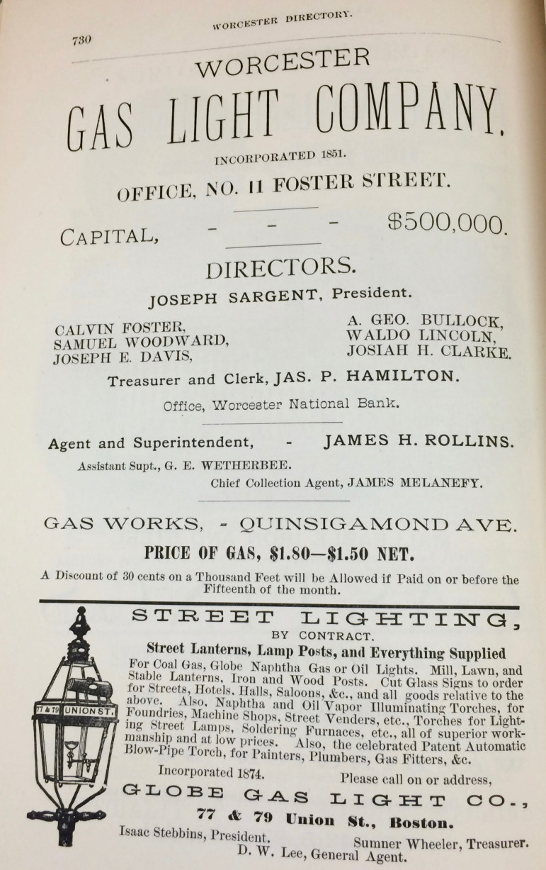 Advertisements for the Worcester Gas Light Company and Globe Gas Light company.