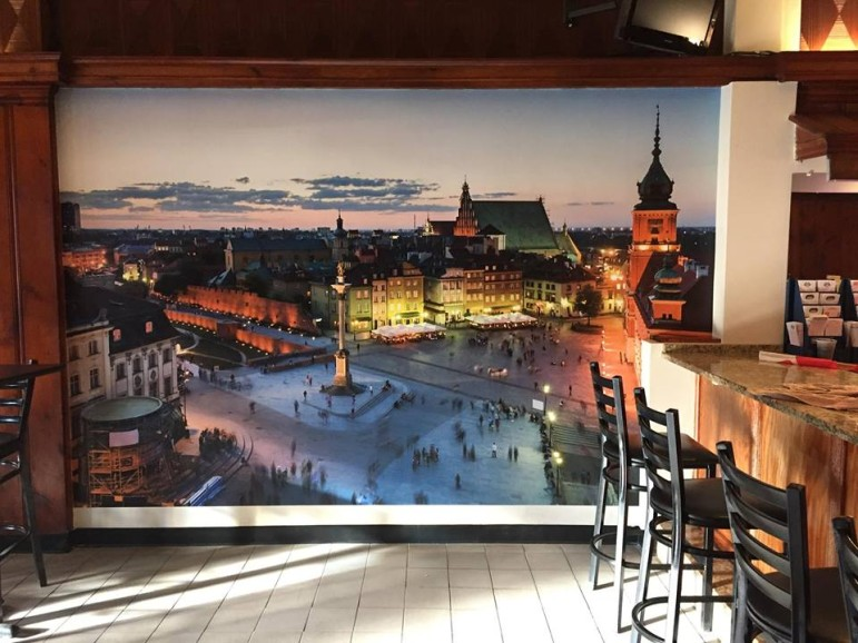 A mural depicting an historic streetscape is still featured inside the White Eagle.
