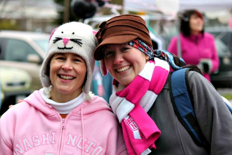 Charlene Dumais, right, with Paws for the Cause director Melissa Dudley.
