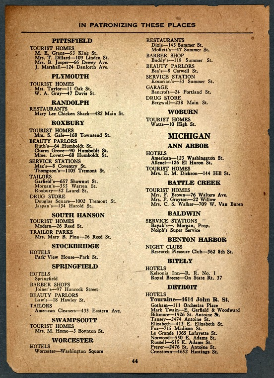 A sample page from the 1947 Green Book, with business listings for Worcester