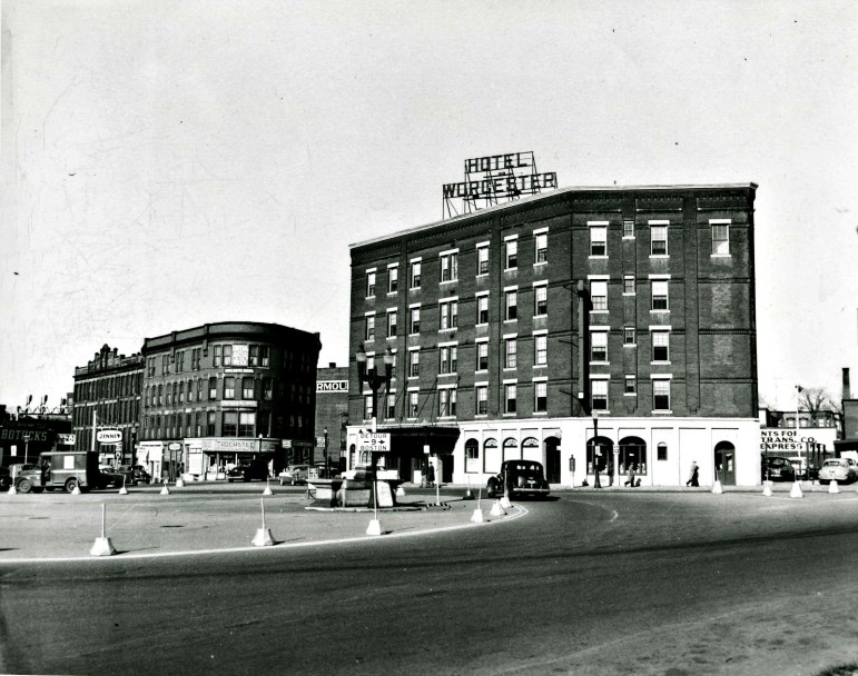 The five-story tall Hotel Worcester was located directly in Washington Square.