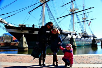 Giselle stops for a few smiles with Brooklyn and Evian during their weekend getaway to Baltimore and D.C.