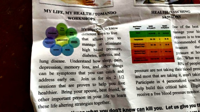 A close-up view of a handout from the most recent Mosaic-led health workshop held at the Kennedy Center on Tacoma Street.