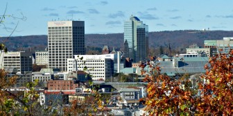 Worcester's downtown skyline, slightly askew