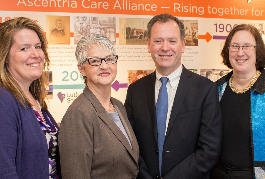 From left, Angela Bovill, president and CEO, Ascentria Care Alliance; Jan Yost, president and CEO, Health Foundation of Central Mass.; Robert Carey, director, Office of Refugee Resettlement; and Linda Hartke, president and CEO, Lutheran Immigration and Refugee Service.