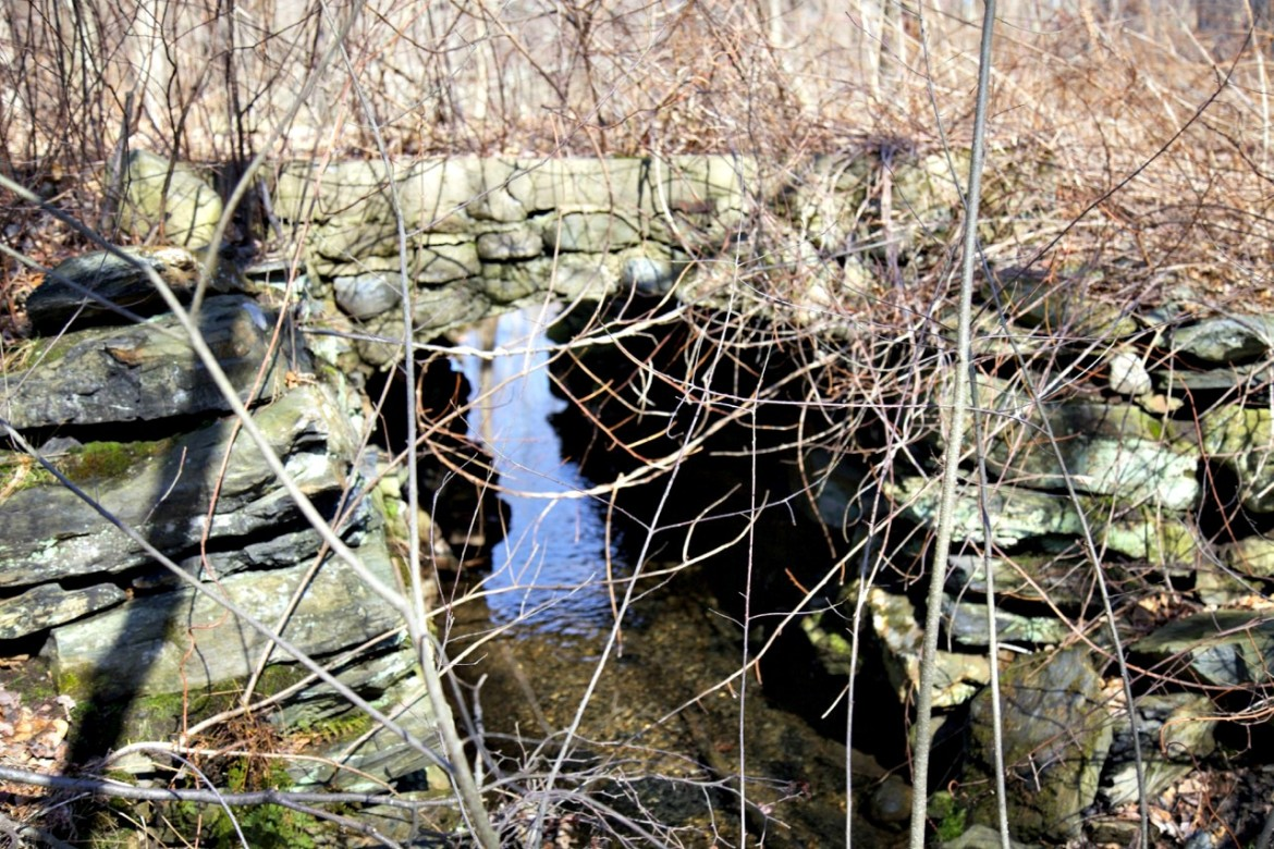 Old stone bridge on abandoned rail bed