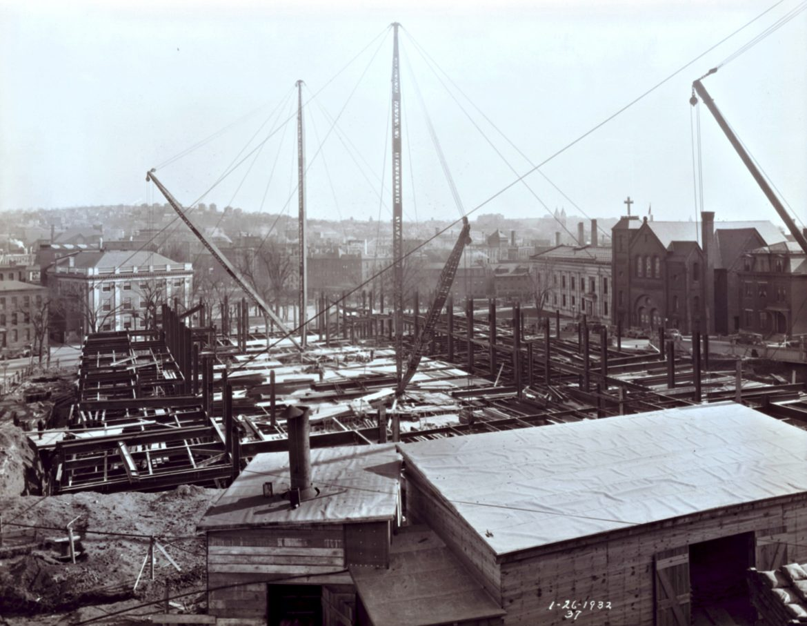 Construction at Worcester Memorial Auditorium, Jan. 26, 1932 (E.B. Luce Collection, Worcester Historical Museum)