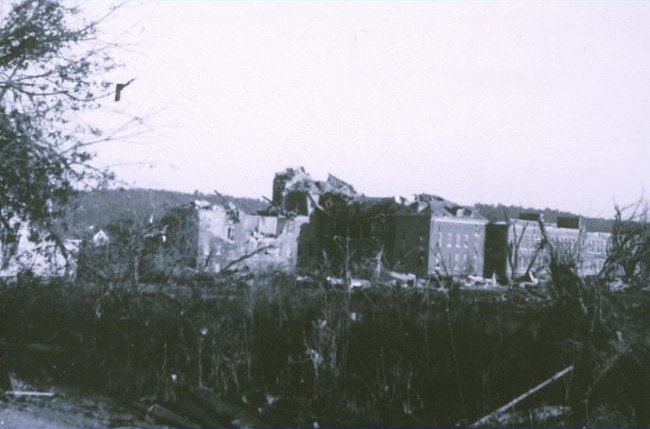 Damage at Assumption College (now Quinsigamond Community College, Assumption moved its campus southwest) from the Worcester tornado of 1953.