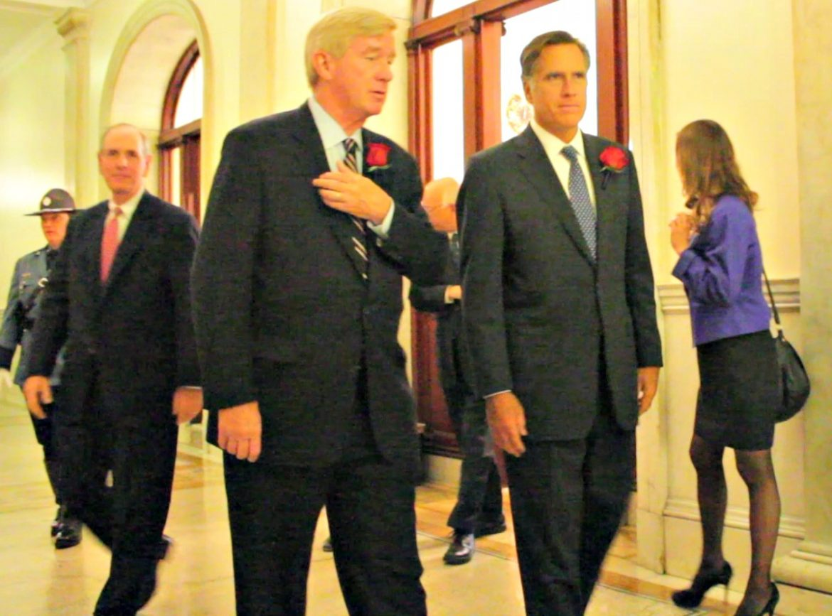 Former Govs. William Weld and Mitt Romney (here at late former Gov. Paul Cellucci's State House memorial service in June 2013) have a mutual respect.