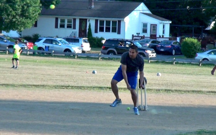 Parasu Raman bowls -- the cricket equivalent of pitching.