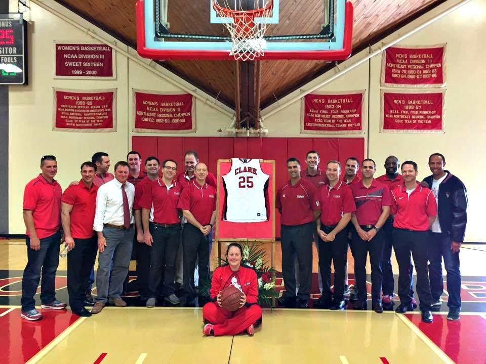 Friends gather with Courtney, center, to remember Pat and his No. 25.