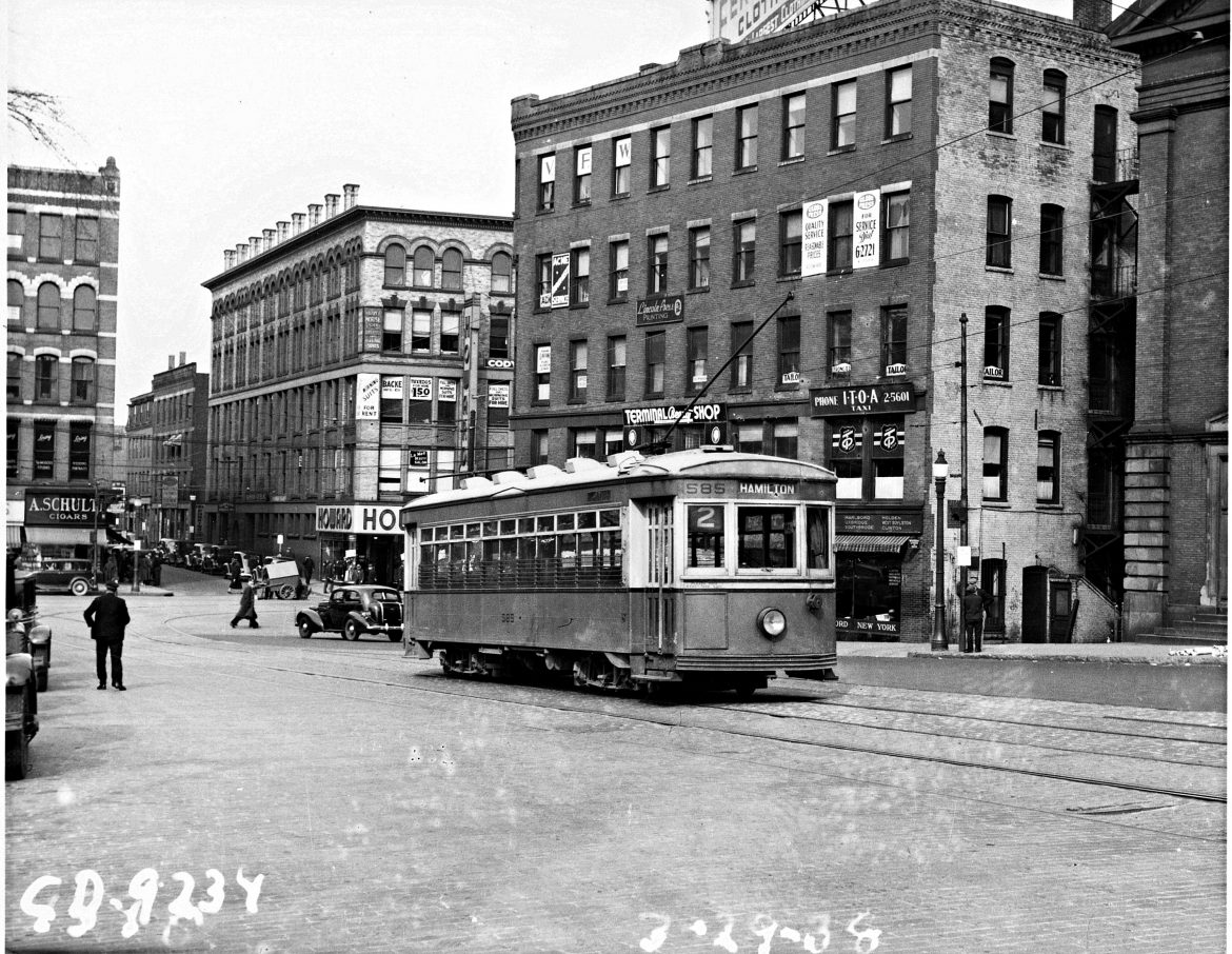 Hamilton Street trolley in Salem Square near Front Street (March 1938)