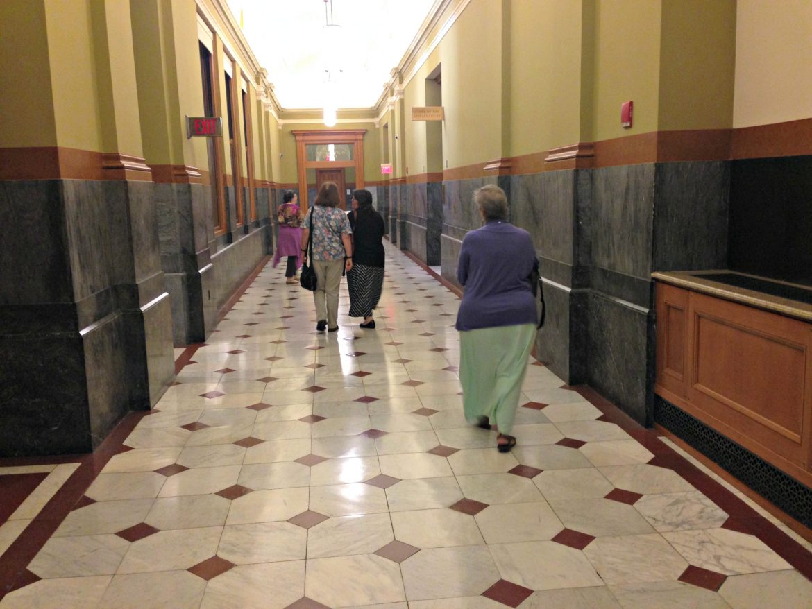Grace Ross, Laurie Endsley, Donna Berrios and Lori Cairns make their way to an appeal hearing in Boston.