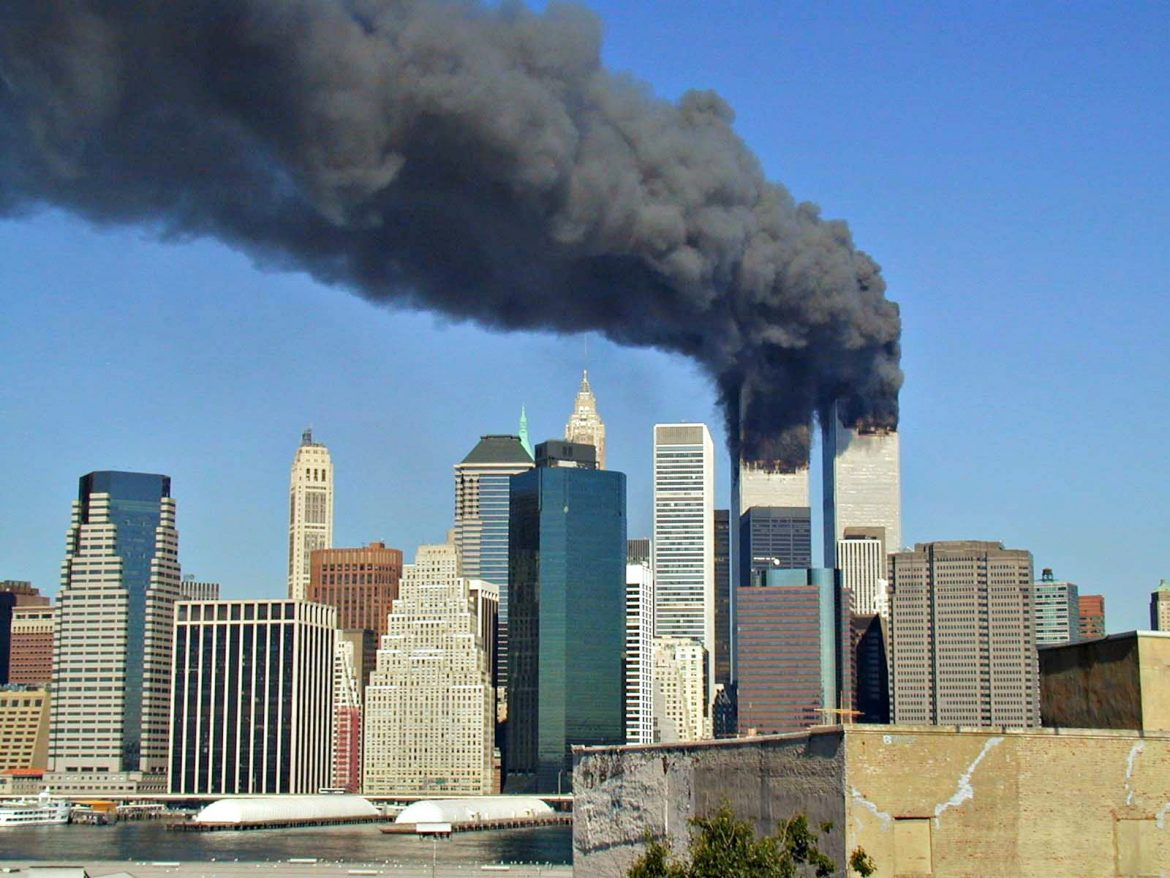 World Trade Center towers billow smoke after terrorists flew two airplanes into the New York City landmark Sept. 11, 2001.