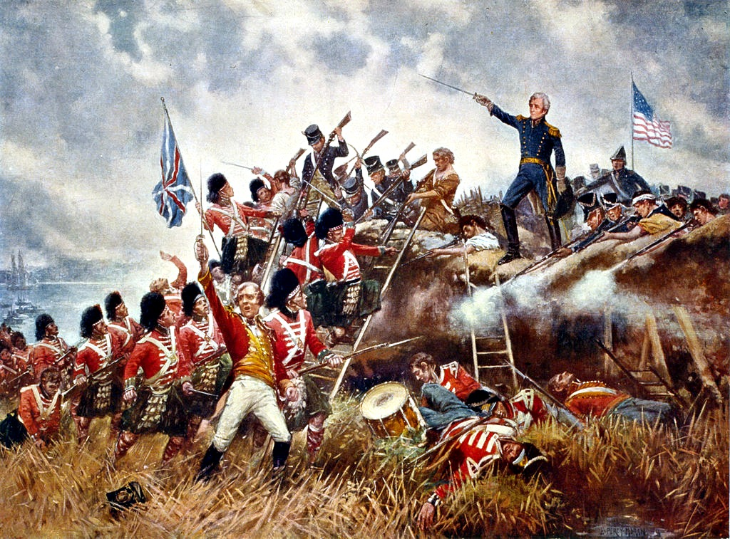 A portrait depicting Gen. Andrew Jackson's victory at the Battle of New Orleans during the War of 1812.